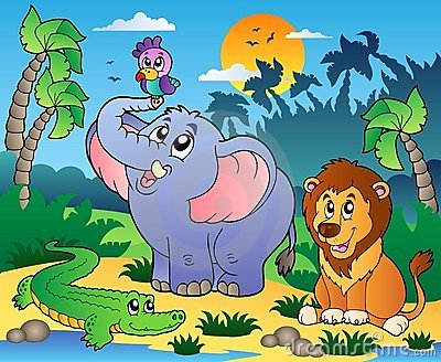 African scenery with animals 4