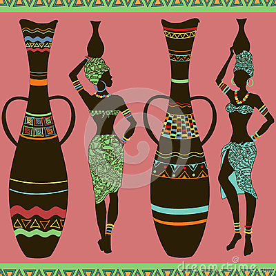 Free African Seamless Pattern Of Girls And Vases Stock Photos - 33055373