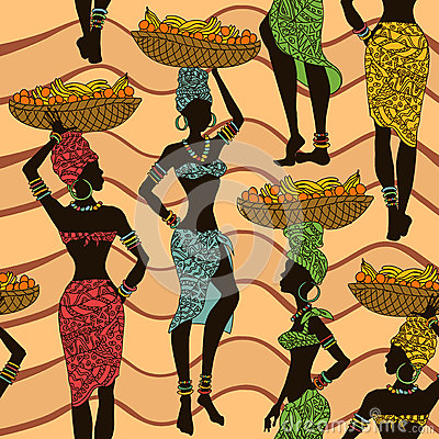 Free African Seamless Pattern Of Street Vendors Stock Photo - 33055340