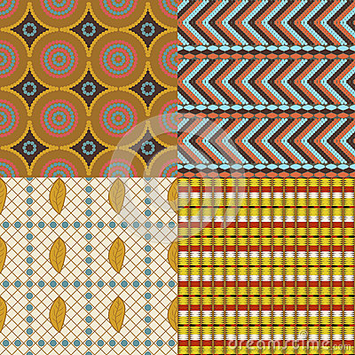 African set of 4 seamless patterns