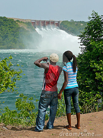 African Sightseers at Ghana s Akosombo Dam Editorial Photography