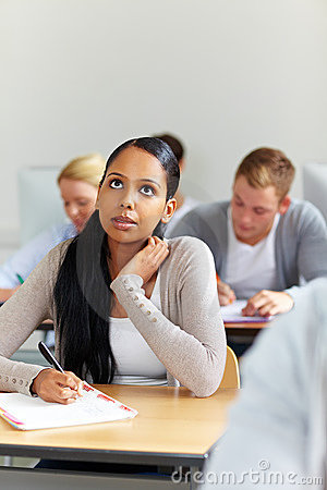 African student in university class