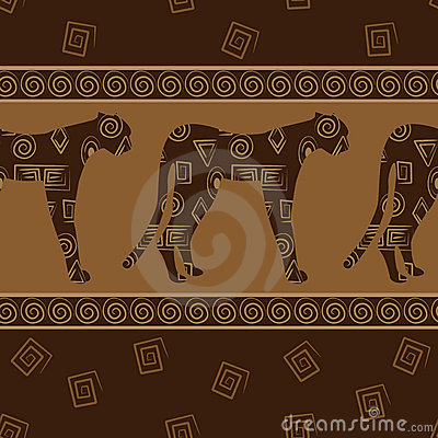 African style seamless background with leopards