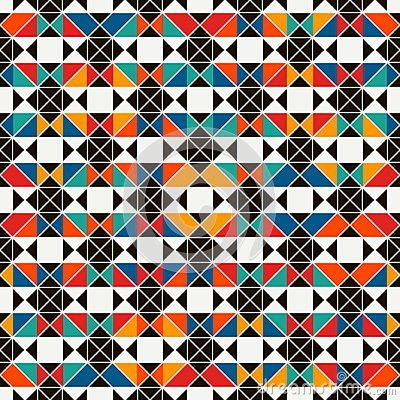 Free African Style Seamless Surface Pattern With Abstract Figures. Bright Ethnic Print. Geometric Ornamental Background Stock Photo - 111173630