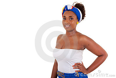African teenage girl wearing traditional clothes