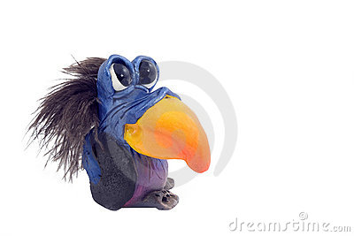 African toy of parrot against the white background