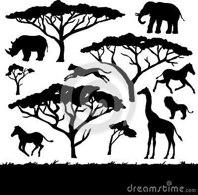 African Trees And Animals Set Of Silhouettes Stock Vector