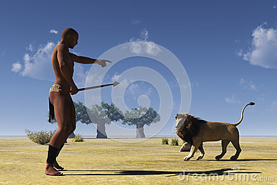 African tribal hunter and lion