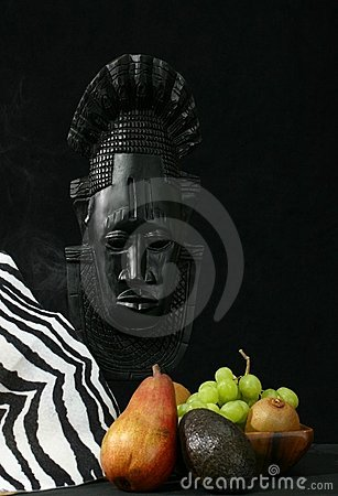 African Tribal Mask, Zebra Skin, And Fruit Royalty Free Stock Photo - Image: 4262555