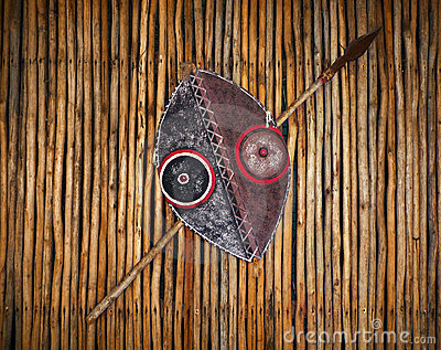 African tribal warrior shield and spear
