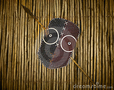 African Tribal Warrior Shield And Spear Stock Photos