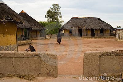 African village,  huts