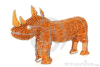 African wire and bead rhino