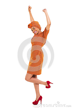 African woman arms up
