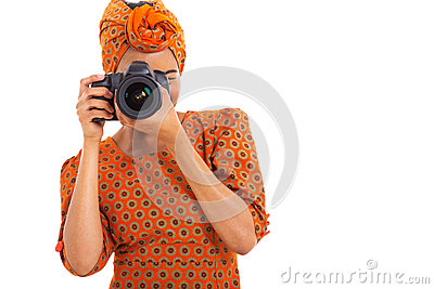 African woman camera
