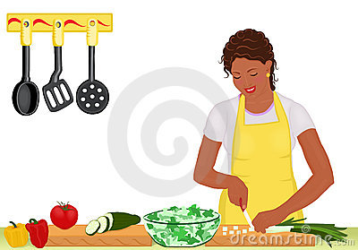 African woman cooking salad on white