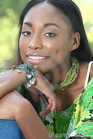 African Woman Green: Smiling and Happy Face