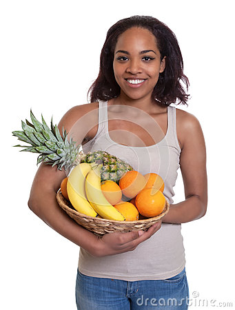 Free African Woman Holding A Basket Of Fruits Stock Image - 43011811