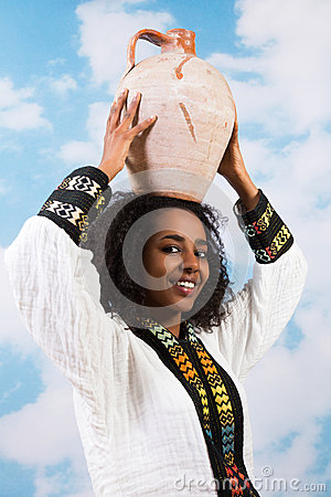 African woman with jug