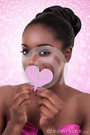 Free African Woman Love Valentine Day Stock Image - 47535441