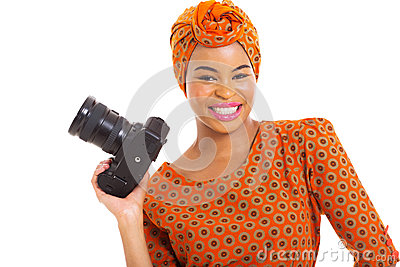 African woman SLR camera