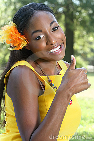 African Woman: Smiling,Thumbs Up