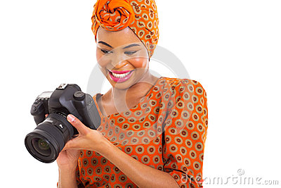 African woman viewing photo