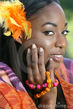 African Woman Yellow: Smiling and Happy