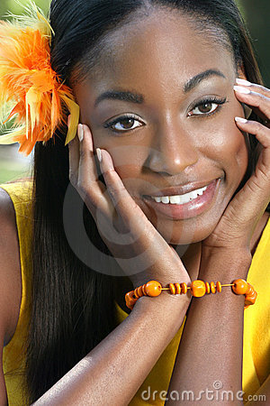 African Woman Yellow: Smiling and Happy Face