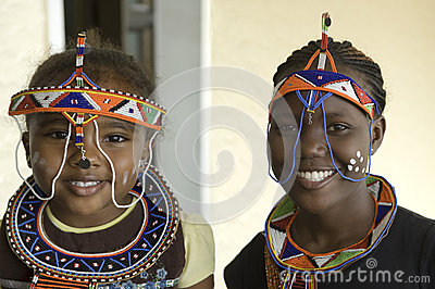 Beautiful african tribal Woman and Girl Editorial Photo