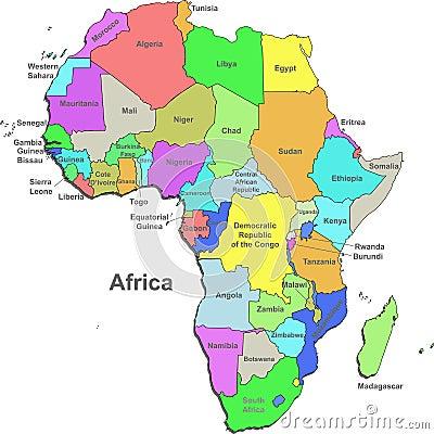 Colorful Afrika-Karte Mit ...