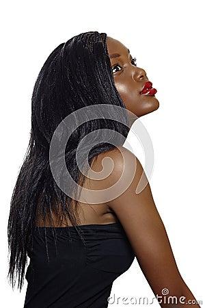 lang haar Afrikaanse naakt
