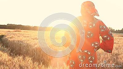 Afrikanerin in der traditionellen Kleidung, die auf einem Gebiet von Ernten bei Sonnenuntergang oder Sonnenaufgang steht