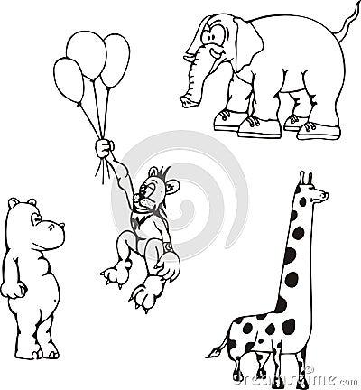 Afrikanische Tierkarikaturen