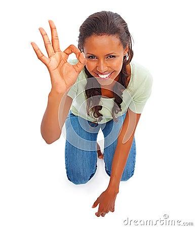Afrikansk amerikan som göra en gest kvinnan för övre sikt
