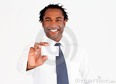 Afro-American businessman showing his card