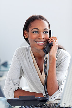 Afro-american businesswoman talking on a phone