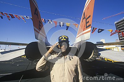 Afro-American Soldier Saluting Editorial Photo