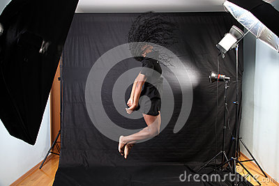Afro american woman jumping