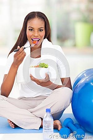 Afro american woman salad