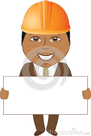 Afro builder engineer with blank for text