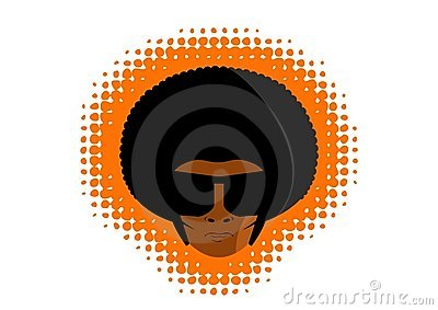 Afro disco man head graphic