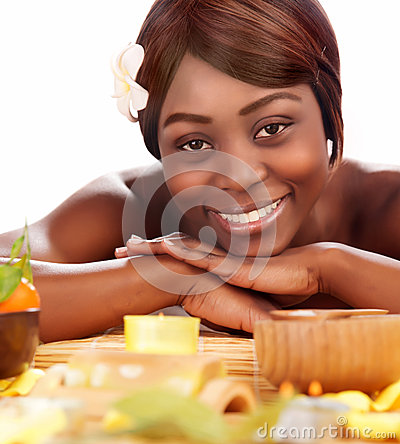 Afro girl enjoying day spa stock photos image 31477843 for A skin care salon