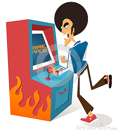 Afro guy plays arcade game