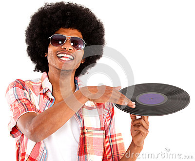 Afro man acting as DJ