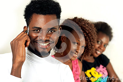 Afro man on cell phone
