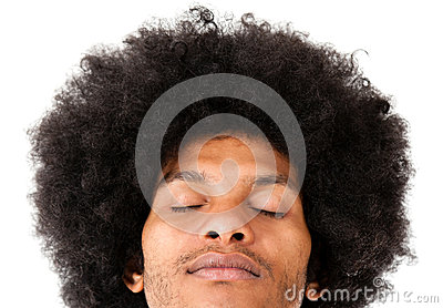 Afro man with eyes closed
