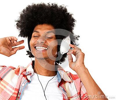 Afro man with headphones