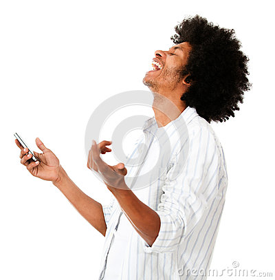 Afro man laughing with his cell