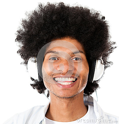 Afro man listening to music